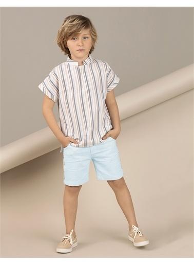 Ollie & olla Çizgili Dokuma Erkek Çocuk Gömlek Krem